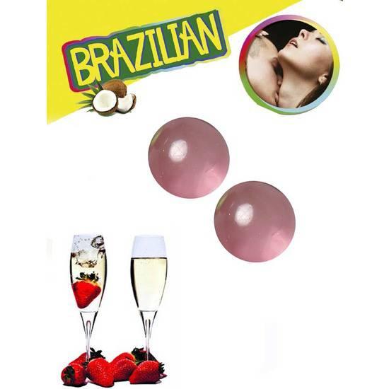 SET 2 BRAZILIAN BALLS AROMA FRESA CAVA - Cosmetica Erótica Aceites Aromáticos - Sex Shop ARTICULOS EROTICOS