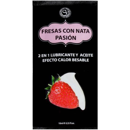 MONODOSIS LUBRICANTE FRESAS CON NATA -10ML - Cosmetica Erótica Aceites Aromáticos - Sex Shop ARTICULOS EROTICOS