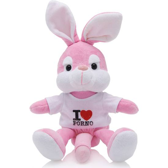 PELUCHE CONEJITO I LOVE PORNO 20 CM BLANCO | DIVERTIDOS BROMAS | Sex Shop