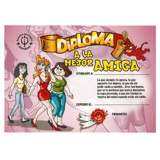 DIPLOMA A LA MEJOR AMIGA | DIVERTIDOS FELICITACIONES | Sex Shop