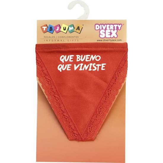 TANGA ROJO CHICA QUE BUENO QUE VINISTE | DIVERTIDOS TANGAS CON FRASES | Sex Shop