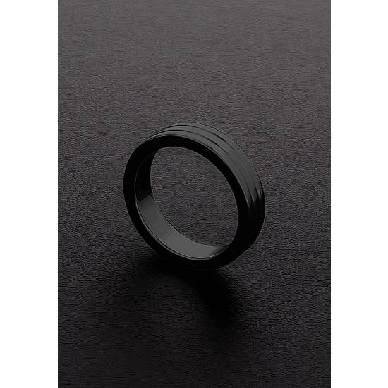 GOLDEN BLACK RIBBED C-RING (10X40MM) - Juguetes Sexuales Anillo - Sex Shop ARTICULOS EROTICOS