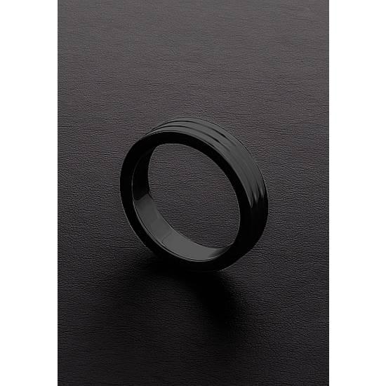 GOLDEN BLACK RIBBED C-RING (10X45MM) - Juguetes Sexuales Anillo - Sex Shop ARTICULOS EROTICOS