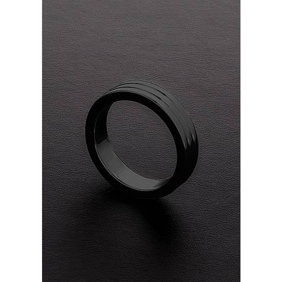GOLDEN BLACK RIBBED C-RING (10X50MM) - Juguetes Sexuales Anillo - Sex Shop ARTICULOS EROTICOS