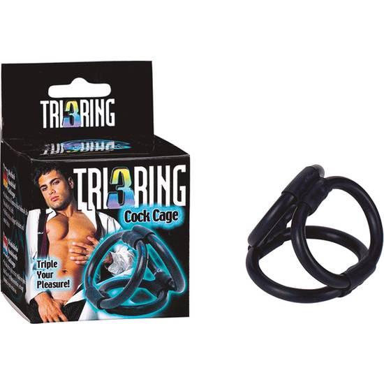 TRI RING COCK ARNÉS NEGRO - Arnes BDSM Bondage - Sex Shop ARTICULOS EROTICOS