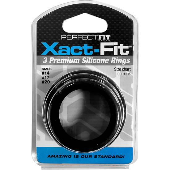 XACT FIT KIT 3 ANILLOS DE SILICONA - 3.5 CM, 4 CM Y 5 CM - Juguetes Sexuales Anillo Kit - Sex Shop ARTICULOS EROTICOS