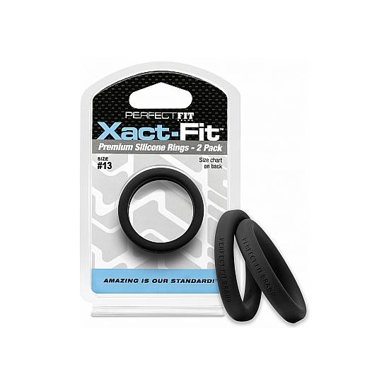 XACT-FIT PACK DE 2 ANILLOS DE SILICONA 13,6CM - NEGRO - Juguetes Sexuales Anillo Kit - Sex Shop ARTICULOS EROTICOS