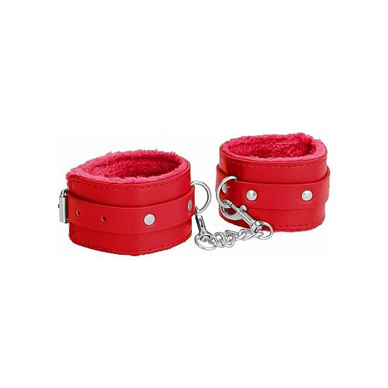 OUCH! PLUSH LEATHER ESPOSAS PARA TOBILLOS - ROJO - Esposas BDSM Bondage - Sex Shop ARTICULOS EROTICOS