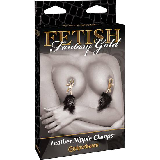 FETISH FANTASY GOLD PINZAS PARA LOS PEZONES CON PLUMAS | JUGUETES XXX BONDAGE | Sex Shop