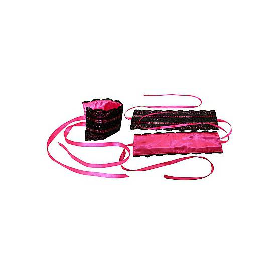 KIT ATADURAS DE LAZO ROSA - BDSM Bondage Kit - Sex Shop ARTICULOS EROTICOS