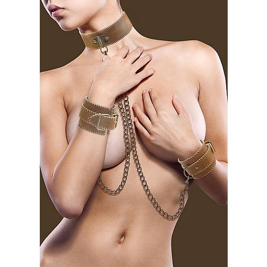 OUCH BROWN JUEGO DE COLLAR Y ESPOSAS BONDAGE - BDSM Bondage Kit - Sex Shop ARTICULOS EROTICOS