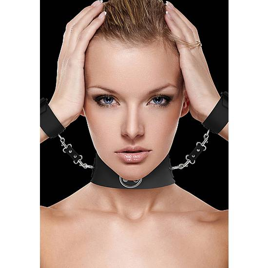 OUCH COLLAR CON ESPOSAS NEGRO - BDSM Bondage Kit - Sex Shop ARTICULOS EROTICOS