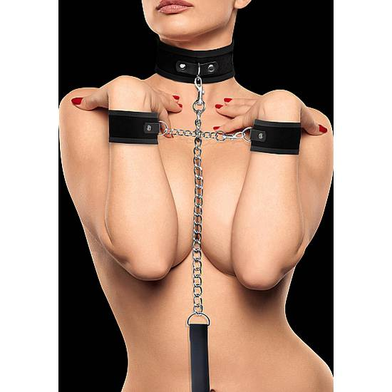 OUCH KIT COLLAR DE VELCRO Y ESPOSAS NEGRO - BDSM Bondage Kit - Sex Shop ARTICULOS EROTICOS