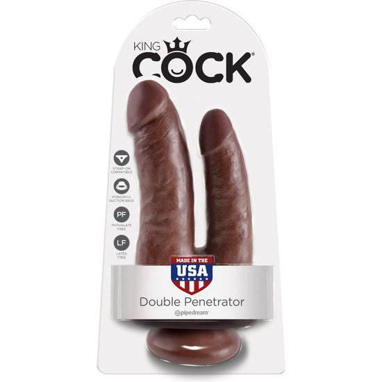 KING COCK PENE REALISTICO DOBLE MARRON - Vibrador Pene Doble Penetración - Sex Shop ARTICULOS EROTICOS