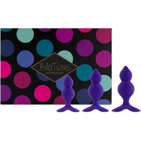 FEELZTOYS - BIBI TWIN SET DE 3 PLUGS ANALES - MORADO - Juguetes Sexuales  Anales Kits - Sex Shop ARTICULOS EROTICOS