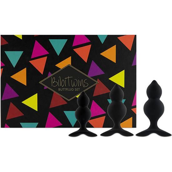 FEELZTOYS - BIBI TWIN SET DE 3 PLUGS ANALES - NEGRO - Juguetes Sexuales  Anales Kits - Sex Shop ARTICULOS EROTICOS