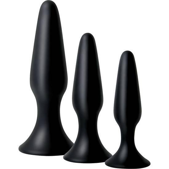 KIT DE ENTRENAMIENTO ANAL SILICONA NEGRO - Juguetes Sexuales  Anales Kits - Sex Shop ARTICULOS EROTICOS