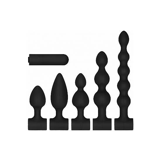 KIT DE SILICONA NEGRO RECARGABLE USB - Juguetes Sexuales  Anales Kits - Sex Shop ARTICULOS EROTICOS