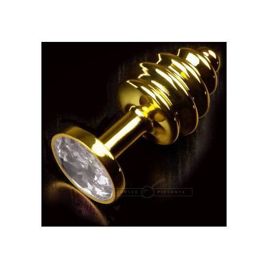PLUG ANAL JEWELLERY RIBBED ORO / DIAMANTE - Juguetes Sexuales Anales Anal - Sex Shop ARTICULOS EROTICOS