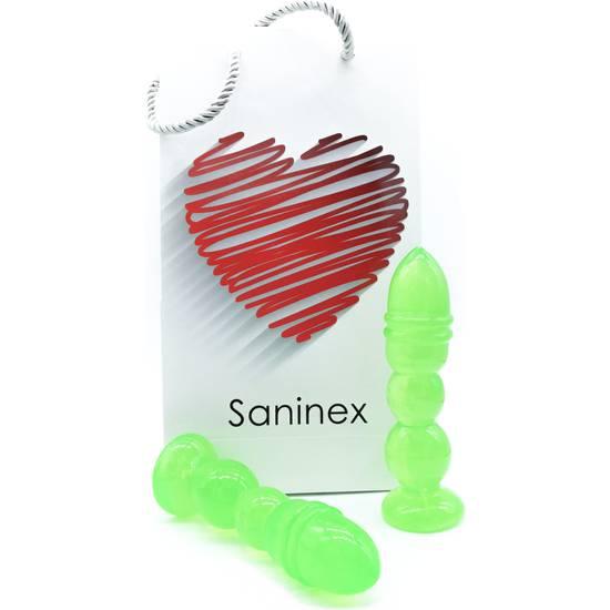 SANINEX DELIGHT  - PLUG & DILDO TRANSPARENTE VERDE - Dildos Juguetes Sexuales - Sex Shop ARTICULOS EROTICOS