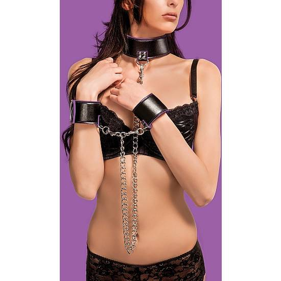 COLLAR Y ESPOSAS REVERSIBLES MORADO - BDSM Bondage Kit - Sex Shop ARTICULOS EROTICOS