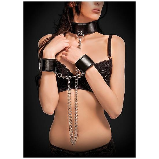 COLLAR Y ESPOSAS REVERSIBLES NEGRO - BDSM Bondage Kit - Sex Shop ARTICULOS EROTICOS