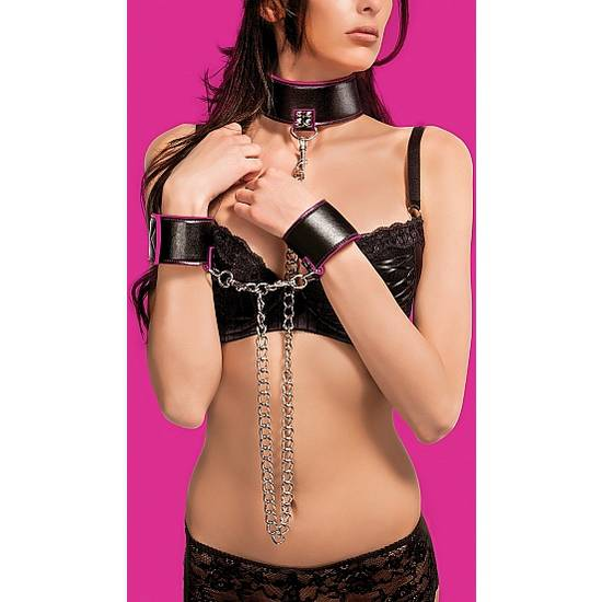 COLLAR Y ESPOSAS REVERSIBLES ROSA - BDSM Bondage Kit - Sex Shop ARTICULOS EROTICOS