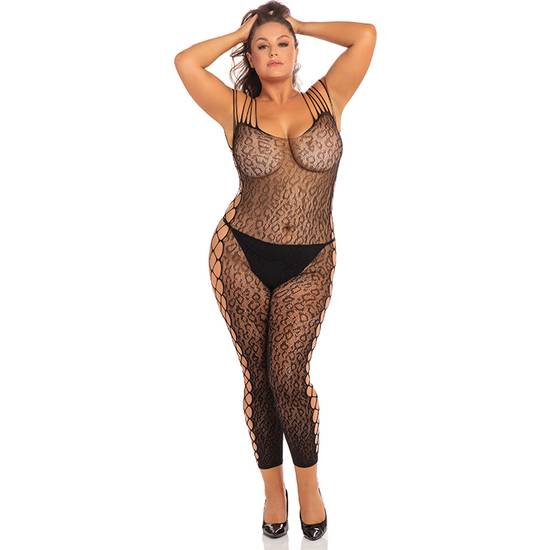 ANIMAL CROTCHLESS BODYSTOCKING DE MALLA - NEGRO - Lenceria Sexy Femenina Bodys - Sex Shop ARTICULOS EROTICOS