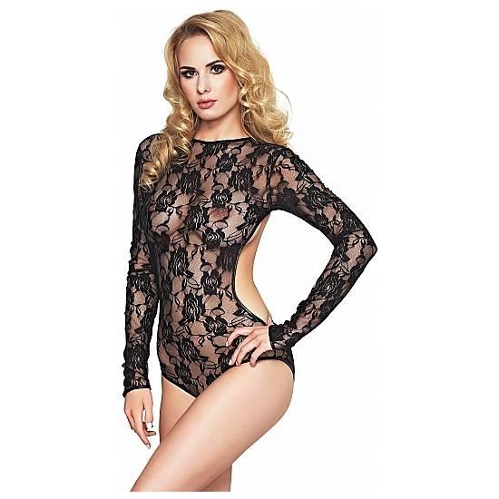 AVERA-S BODY MANDGA LARGA DE ENCAJE - NEGRO - Lenceria Sexy Femenina Bodys - Sex Shop ARTICULOS EROTICOS