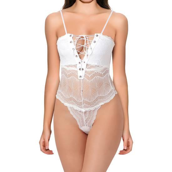 BODY JEAN BLANCO - Lenceria Sexy Femenina Bodys - Sex Shop ARTICULOS EROTICOS