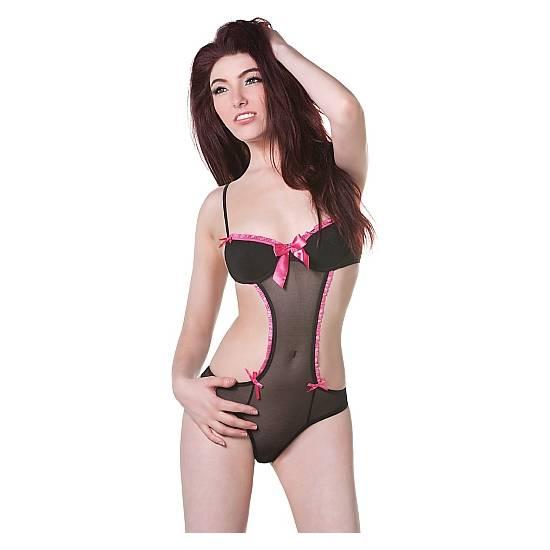 BODY NEGRO CON DETALLES FUCSIA - Lenceria Sexy Femenina Bodys - Sex Shop ARTICULOS EROTICOS