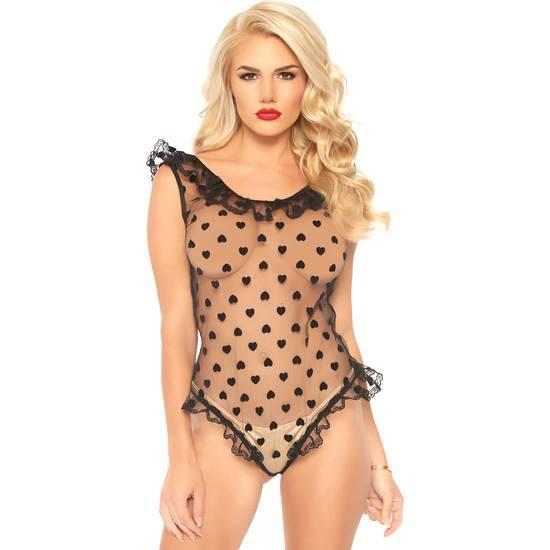 BODY TEDDY CON LUNARES - NEGRO - Lenceria Sexy Femenina Bodys - Sex Shop ARTICULOS EROTICOS