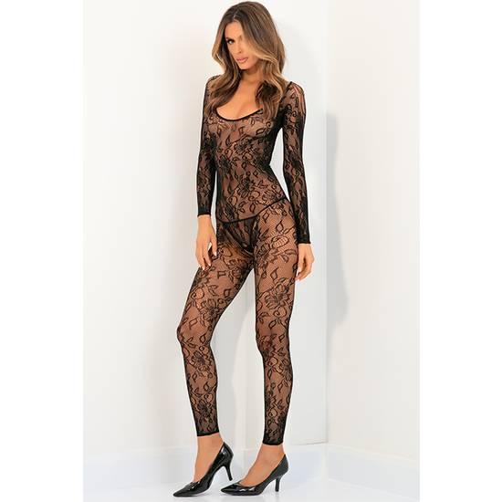 BODY UP CROTCHLESS BODY DE ENCAJE FLORAL - NEGRO - Lenceria Sexy Femenina Bodys - Sex Shop ARTICULOS EROTICOS