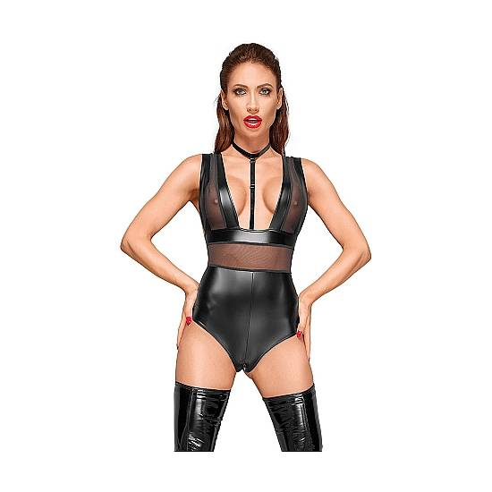 BODY VELVET EFECTO MOJADO CON TRANSPARENCIAS - NEGRO - Lenceria Sexy Femenina Bodys - Sex Shop ARTICULOS EROTICOS