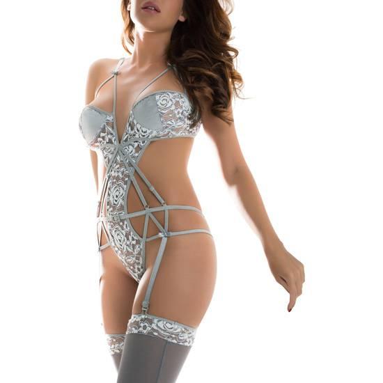 CONJUNTO CHANTILLY GRIS - Lenceria Sexy Femenina Bodys - Sex Shop ARTICULOS EROTICOS