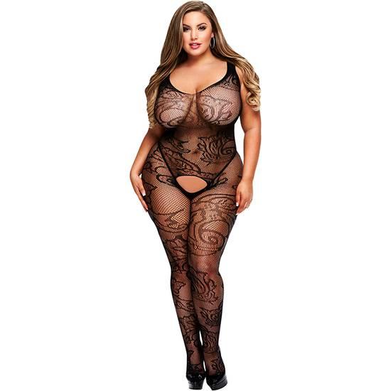 CROTCHLESS JACQUARD BODYSTOCKING - Lenceria Sexy Femenina Bodys - Sex Shop ARTICULOS EROTICOS