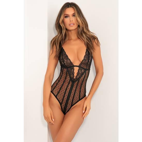 DOWN TO FLAUNT BODY LENCERO NEGRO - Lenceria Sexy Femenina Bodys - Sex Shop ARTICULOS EROTICOS