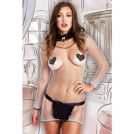 FLIRTY FRENCH MAID 5-PC SET - MALLA RED - Lenceria Sexy Femenina Picardias - Sex Shop ARTICULOS EROTICOS