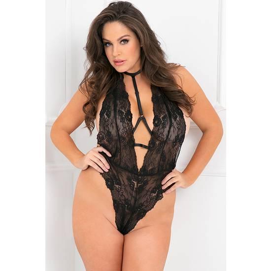 FRONT FOCUS CHOKER BODY DE ENCAJE FLORAL - NEGRO - Lenceria Sexy Femenina Bodys - Sex Shop ARTICULOS EROTICOS