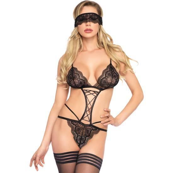 LEG AVENUE BODY DE ENCAJE CON MÁSCARA - Lenceria Sexy Femenina Bodys - Sex Shop ARTICULOS EROTICOS