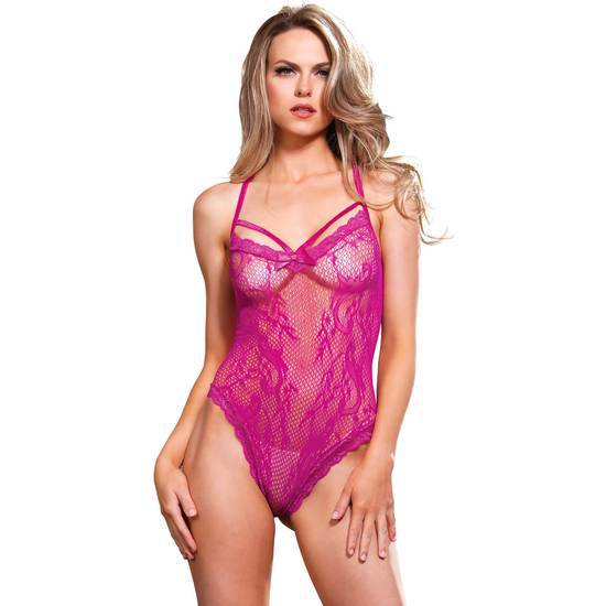 LEG AVENUE BODY RED DE ENCAJE ROSA - Talla U | LENCERIA BODYS | Sex Shop
