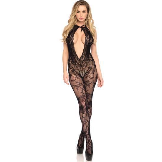 LEG AVENUE BODYSTOCKING DE ENCAJE CON RECORTES - Lenceria Sexy Femenina Bodys - Sex Shop ARTICULOS EROTICOS