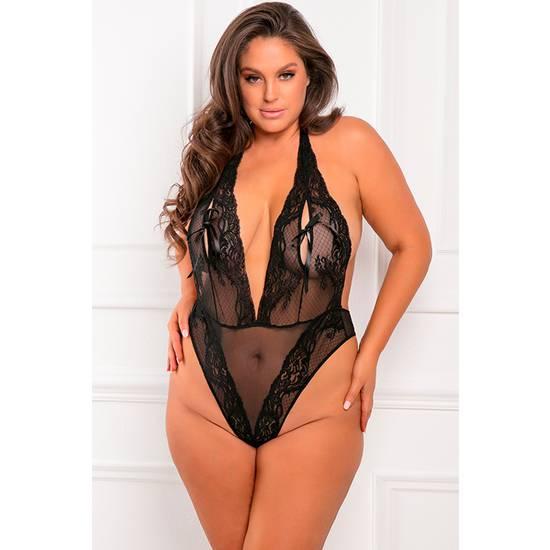 PEEP STAR TEDDY BLACK - BODY ENCAJE - Lenceria Sexy Femenina Bodys - Sex Shop ARTICULOS EROTICOS
