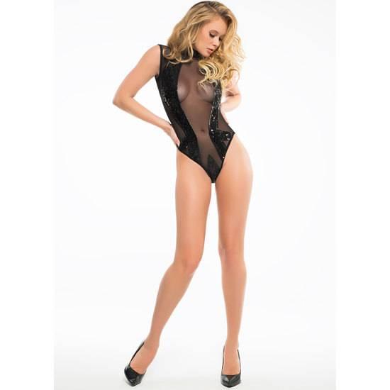 SEQUINS & SHEER BODY CUELLO ALTO CON TRANSPARENCIAS - Lenceria Sexy Femenina Bodys - Sex Shop ARTICULOS EROTICOS