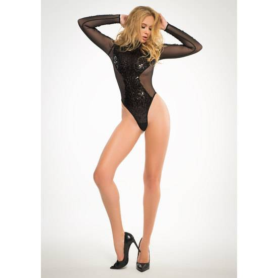 SEQUINS & SHEER BODY MANGA LARGA - NEGRO - Lenceria Sexy Femenina Bodys - Sex Shop ARTICULOS EROTICOS
