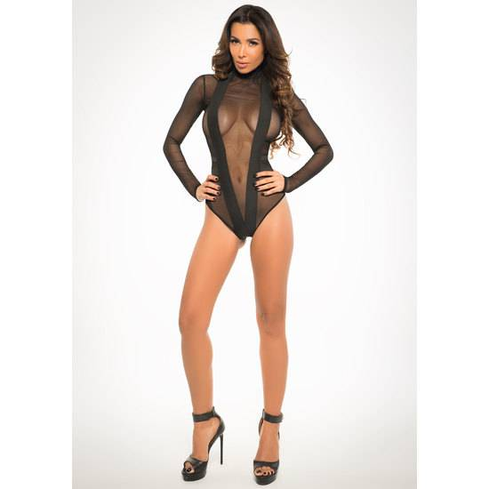 SHEER BODY ESCOTE V CON TRANSPARENCIAS - Lenceria Sexy Femenina Bodys - Sex Shop ARTICULOS EROTICOS