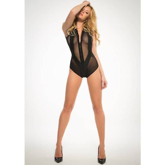 SLEEVLESS BODY CON CREMALLERA - NEGRO - Lenceria Sexy Femenina Bodys - Sex Shop ARTICULOS EROTICOS