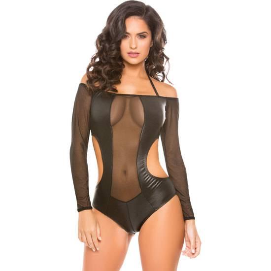 WETLOOK & MESH ROMPER - Lenceria Sexy Femenina Bodys - Sex Shop ARTICULOS EROTICOS