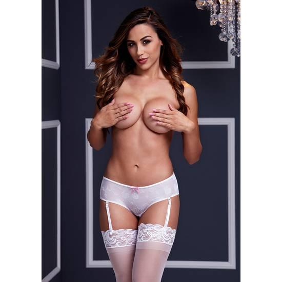 BACI BRAGUITA CON LIGUERO BLANCA - Lenceria Sexy Femenina Braguitas y Tangas -Sex Shop ARTICULOS EROTICOS