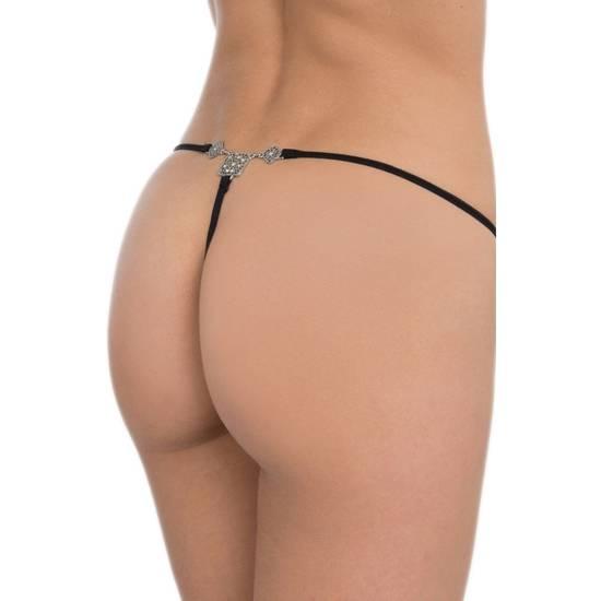 TANGA CON BROCHE DE PEDRERÍA CUADROS SIN COSTURAS NEGRO - Lenceria Sexy Femenina Braguitas y Tangas -Sex Shop ARTICULOS EROTICOS